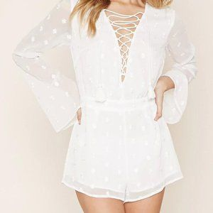 NWT Forever 21 Flower Embroidered Lace-Up Romper